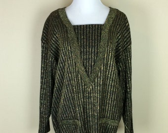 80s Black and Gold Sweater / 1980s Metallic Slouchy Sweater / Stripe Pullover Top / Brittany Nicole M