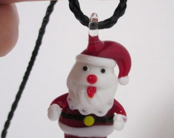 SANTA CLAUS Necklace Jumbo Glass Art Lampwork Pendant on Black Faux Leather Braided Cord