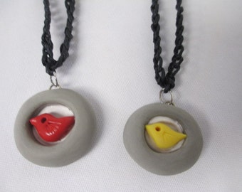 Red or Yellow Sculpted Bird OOAK Clay Pendant Black Hemp Necklace  - You Choose One (1) Red or Yellow