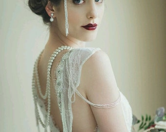 Greater than Gatsby -- Old Hollywood Glam Art Deco Wedding Headpiece -- Gatsby Wedding, Wedding Headpiece, Deco Wedding Piece, Flapper,