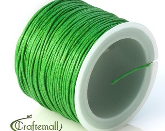 SALE 50% OFF: Green waxed cotton cord - 1mm waxed cotton cord - 1 roll (25meters)