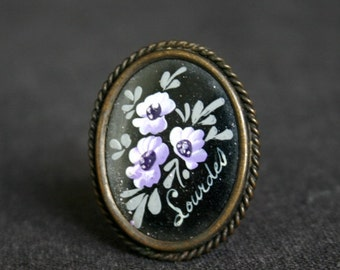 Vintage Lourdes elegant antique brooch. French pilgrimage souvenir. Mother gift idea.