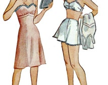 1940's Teen Lingerie Sewing Pattern - SIMPLICITY 1075 - 1940's Retro Sewing Pattern for Slip, Brassiere and Panties  - Bust 30