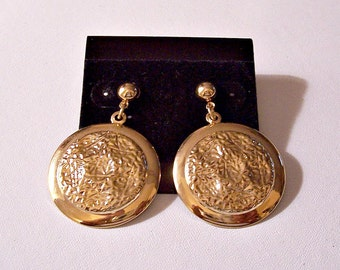 Hammered Dangle Discs Stud Pierced Earrings Gold Tone Vintage Large Round Pebbled Ridged Wide Band Rim