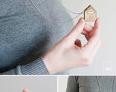 Wood House Necklace · White · Housewarming · Eco Friendly Jewelry. Gift of a memory home of your childhood. Home is Where the Heart Is