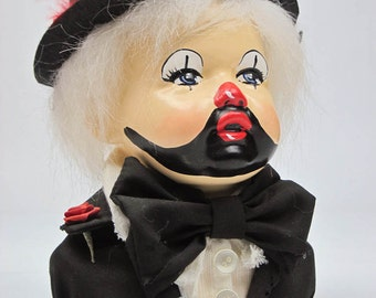 Collectible Clown Doll Bust Clown Figurine Clown Doll Nursery Decor Clown Collector Tattered Outfit