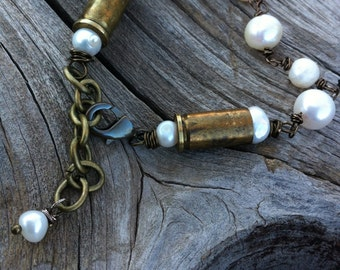 SALE -Today Only Bullet Bracelet Casing rustic pearls western country cowgirl bridal wire wrapped rodeo hunting girl accessories set caliber