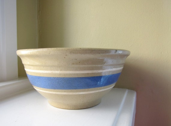 Watt Yellow Ware Bowl Oatmeal Color with Blue and White Stripes