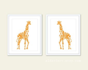 Giraffe Art Prints - Set of 2 - Floral - Giraffe Wall Art - Home Decor - Orange - African Animal
