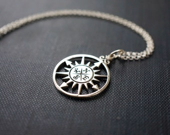 Necklace, Silver Necklace, Compass Rose Pendant, Compass Pendant, Sterling Silver Pendant, Silver Jewelry, Silver Rolo Chain, No. BSRC004