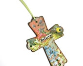 Small Cross Multicolor Floral Decoupaged Hanging Wall Cross Catholic Art Christian Gift Mixed Media Easter Christening
