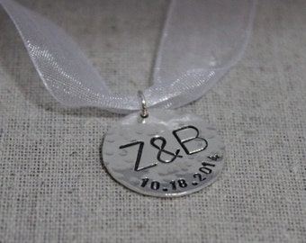 Personalized wedding bouquet charm, initials and date pendat, bridal bouquet charm, sterling silver bridal accessories, bridal gift