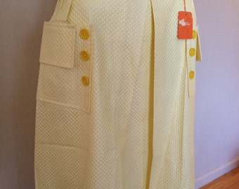 Vintage Yellow Belted Cotton Skirt Lloyd Sportwear NOS