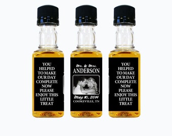 Custom Whiskey Mini Bottle Labels Liquor Wedding Favors Engagement Party Rehearsal Dinner Reception Mr and Mrs Photo Whisky Gift EB-1015