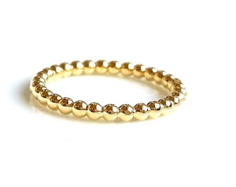 Beaded Dotted Stacking Ring - Wedding Ring - Gold Filled Trendy Stacking Ring - Handmade Ring - Minimalist Jewelry - Venexia Jewelry