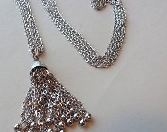 Trifari Suspended Animation Tassel Necklace in Silver Tone