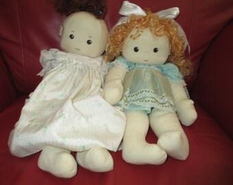 Vintage Cloth Doll/ Baby Doll/ Rag Doll/ Stuffed Doll/ Bean Bag Doll/ Artist Doll/Cottage Doll/Play Doll/ c.1990 by Gatormom13