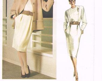 1980s Geoffrey Beene Straight Dress Jacket Office Business Wear Vogue American Designer Vogue 1771 Uncut Sz 8 Women's Vintage Sewing Pattern