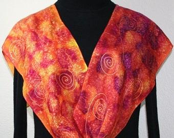 Orange , Crimson, Berry Handmade Silk Shawl SUNSET STORM. Hand Painted Scarf in 3 SIZES. Birthday Gift, Bridesmaid Gift. Gift-Wrapped.