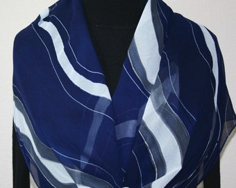 Silk Scarf Hand Painted Chiffon Silk Shawl Dark Blue White Hand Dyed Silk Scarf WAVE GODDESS Large 14x72 Birthday Gift Scarf Gift-Wrapped