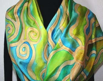 Silk Scarf Hand Painted Silk Shawl Antique Green Turquoise Hand Dyed Silk Scarf TUSCAN LILIES Large 14x72 Birthday Gift Scarf Gift-Wrapped