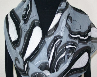 Silk Scarf Hand Painted Chiffon Silk Shawl Grey Black White Silk Scarf SILVER NIGHT Extra Long 11x90 Birthday Gift Scarf Gift-Wrapped Scarf