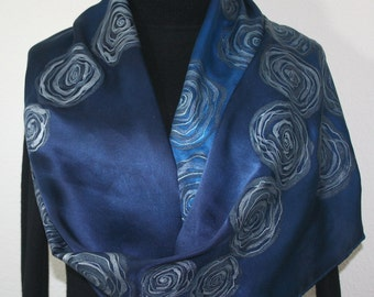 Silk Scarf Hand Painted Satin Silk Shawl  Sapphire Blue Navy Blue Silk Scarf SATIN ROSES-1, Large 14x72. Birthday Scarf. Anniversary Gift