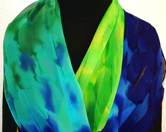 Silk Scarf Hand Painted Chiffon Silk Shawl Blue Green Yellow Hand Dyed Silk Scarf OCEAN SKY Large 14x72 Birthday Gift Scarf Gift-Wrapped
