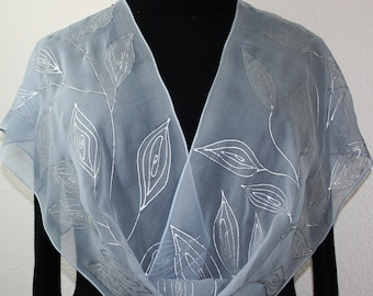 Silver Grey Hand Painted Chiffon Silk Scarf SILVER BEAUTY, in 3 SIZES. Anniversary Gift. Birthday Gift. Bridesmaids Gift, Mother's Day Gift