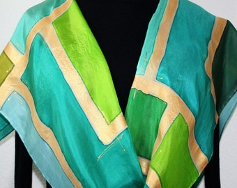 Green Silk Scarf. Hand Painted Scarf. Teal Handmade Silk Shawl GREEN CHIC. Birthday, Bridesmaid Gift. Gift-Wrapped. Offered in Several SIZES