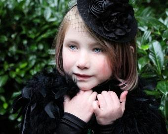 mini witch hat, black witch headband, halloween flower headband,  witch hat, photo prop, baby headband,glitter
