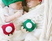 Newborn Crochet Super Mario Twin Photo Prop Set