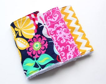Boutique Baby Girl Burp Cloth Set - Set of Three Chenille Burp Rags - Bright Flowers on Navy, Mustard Yellow Chevron, and Pink Swirls