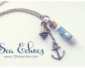 Ocean Glass bottle necklace. Shell in a Bottle necklace. Vial necklace with Shells Sea bottle, gifts for women, nautical necklace romantic