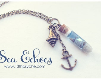 Ocean bottle necklace Shell Vial necklace, Sea bottle pendant, ocean necklace mermaid pendant nautical necklace Inspirational Gift for women