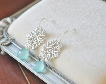SALE- Was USD 26-Sterling Silver Snowflake Lace Earrings with Blue Chalcedony Gemstones-ice, Cold Snow, Frozen Inspired Jewelry