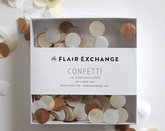 Wedding Confetti - Hand-Cut Confetti - Rose : Metallic Rose Gold, White, Off White