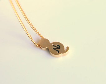 Minimalist gold and  rhodium plated customizable cat pendant necklace with metal plated filled chain, a gift for her with minimalist style