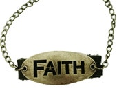 Faith Leather Bracelet Brass Inspirational Christian Jewelry Gift