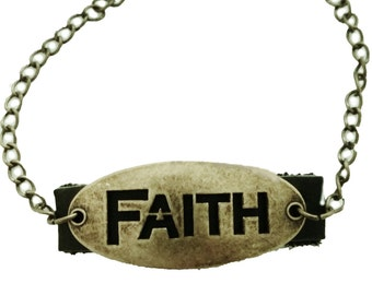 Faith Leather Bracelet Brass Inspirational Christian Jewelry Gift - Sale Jewelry Flash Sale
