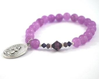 SAINT Bernadette bracelet Purple Jade + purple crystal bracelet St Bernadette saint bracelet Confirmation Catholic jewelry Rosary gift