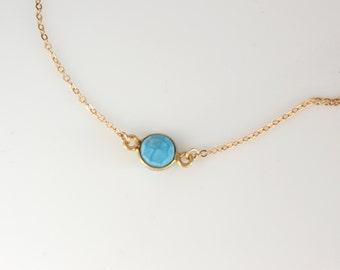 Tiny Turquoise Necklace , Blue Gemstone Necklace , 14K Gold Filled Necklace , Turquoise Gold Necklace , Layering Necklace , Smokey Amethyst