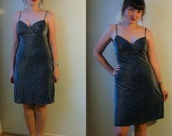 S Vintage 90s Silver Glitter Dress