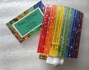 Fused Glass Night Light - Rainbow