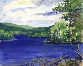 watercolor landscape- Blue Lake- Parc Régional Kiamika- art print