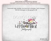 Custom photography logo Premade Logo Design doodle camera logo bird photography logo by princessmi 1231-14