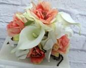 5 piece Wedding cake topper set coral white  blue Cake flowers centerpiece