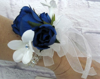 Blue rose wrist corsage mother of the bride weddings or prom