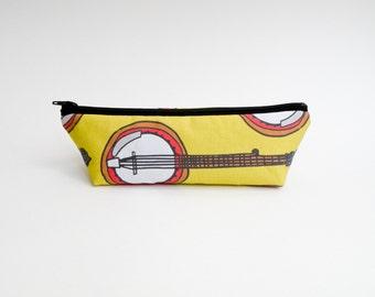 Banjo Pencil Case - Zipper Pouch - Makeup Bag - Yellow Brown Orange Back to School Supply