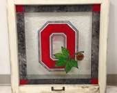 OSU Faux Stained Antique Window - Ohio State Buckeyes - Block O Stained Glass Look - Made to Order